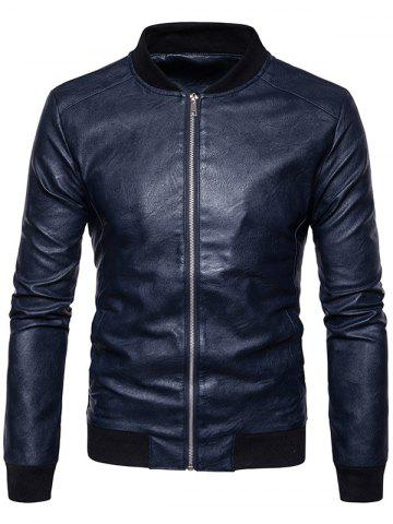 Ribbed Panel Faux Leather Zip Up Bomber Jacket