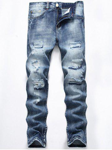 Best Light Wash Straight Leg Distressed Jeans