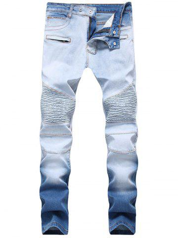 Shop Hook Button Skinny Ombre Biker Jeans