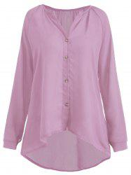 Plus Size Button High Low Chiffon Blouse -