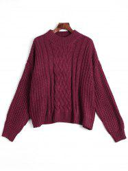 Mock Neck Chunky pull en maille - Rouge vineux  Taille Unique