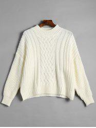 Mock Neck Chunky pull en maille - Blanc Taille Unique