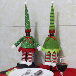 Christmas Polka Dot and Stripe 2Pcs Wine Bottle Cover Bags -
