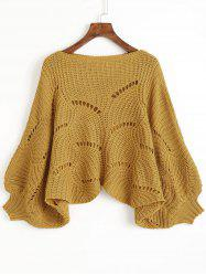 Cropped Hollow Out Dolman Poncho Sweater -