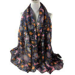 Soft Christmas Deer and Flower Embellished Long Scarf -