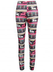 Elk Print Elastic Waist Workout Leggings -