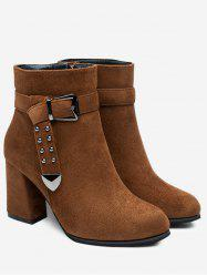 Studs Buckle Strap Chunky Heel Ankle Boots