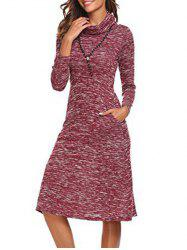 Long Sleeve Cowl Neck Knee Length Dress -