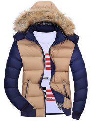 Color Block Detachable Hood Padded Jacket -