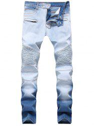 Hook Button Skinny Ombre Biker Jeans -