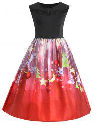 Christmas Star Moon Sleeveless Plus Size Dress -