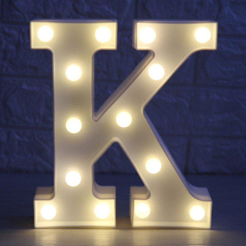Letter K Shape 3D LED Night LightHOME<br><br>Color: WHITE; Products Type: Novelty Lighting; Materials: Plastic; Style: Novelty; Occasion: Bedroom,Birthday,Brithday Party,Holiday,Home,Party Supplies; Weight: 0.4000kg; Package Contents: 1 x Night Light;