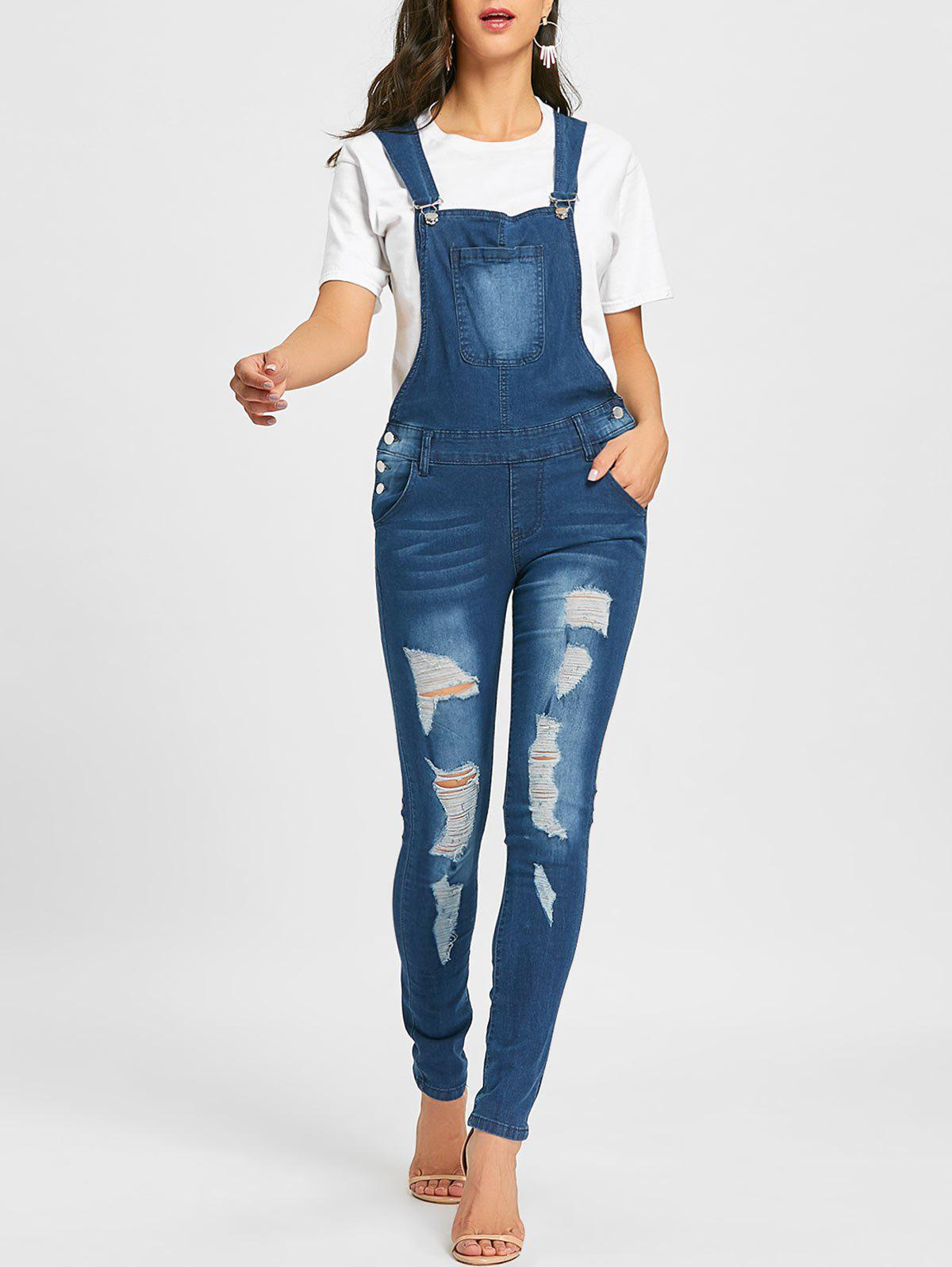 Best Cuffed Distressed Denim Dungarees