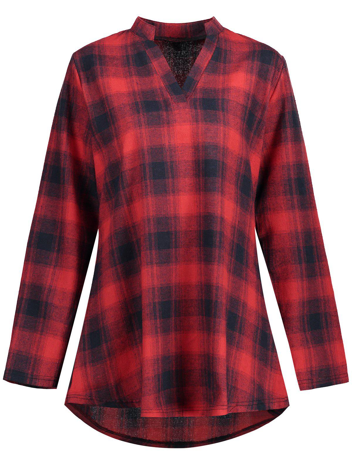 High Low Plaid Plus Size ShirtWOMEN<br><br>Size: 5XL; Color: RED; Material: Polyester; Shirt Length: Long; Sleeve Length: Full; Collar: V-Neck; Style: Fashion; Season: Fall,Spring; Pattern Type: Plaid; Weight: 0.2950kg; Package Contents: 1 x Shirt;