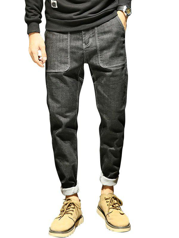 Cheap Zip Fly Cuffed Tapered Jeans with Big Pockets