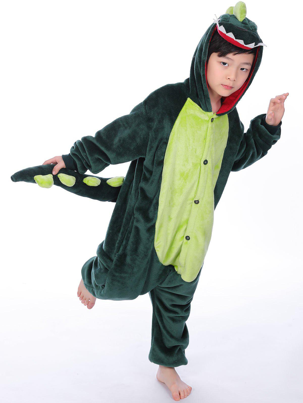 Cartoon Onesies Kids Dinosaur Animal PajamasHOME<br><br>Size: 130; Color: GREEN; Type: Blanket Sleepers; Material: Polyester; Sleeve Length: Long Sleeves; Pattern Type: Character; Season: Fall,Winter; Weight: 0.4960kg; Package Contents: 1 x Pajamas;