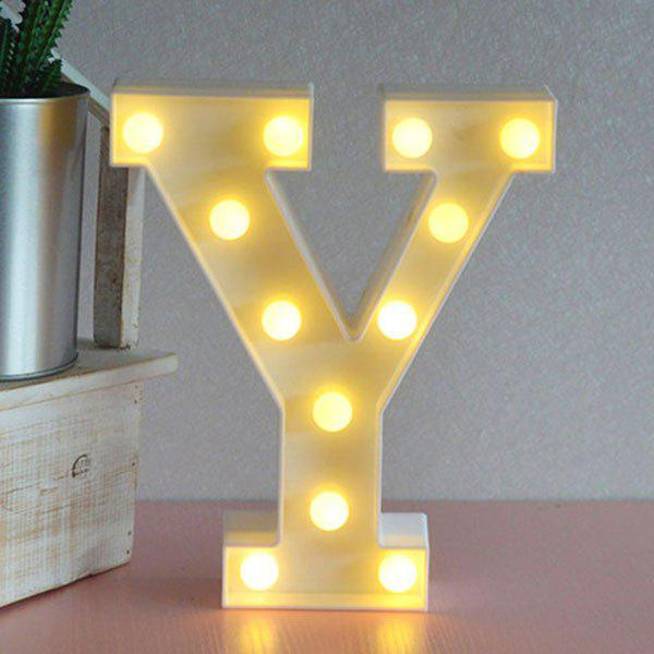 Letter Y Shape 3D LED Night LightHOME<br><br>Color: WHITE; Products Type: Novelty Lighting; Materials: Plastic; Style: Novelty; Occasion: Bedroom,Birthday,Home,Party Supplies; Weight: 0.3680kg; Package Contents: 1 x Night Light;