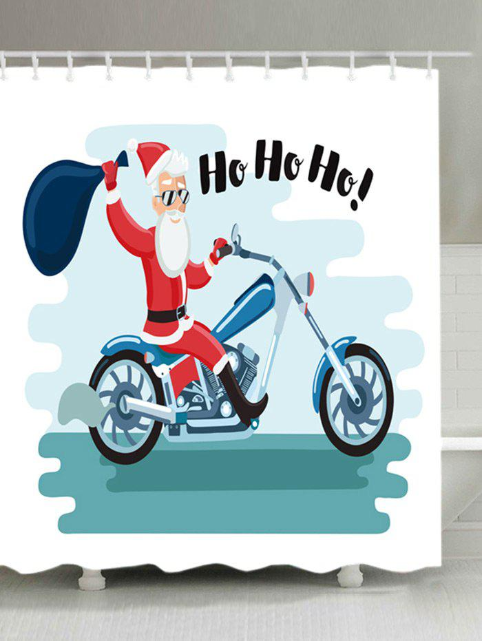 Shops Christmas Motorcycle Santa Print Waterproof Bathroom Shower Curtain