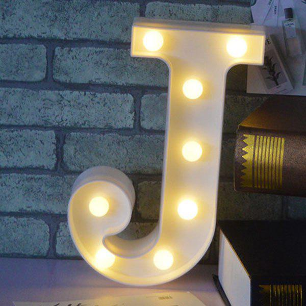 Letter J Shape Decoration 3D LED Night LightHOME<br><br>Color: WHITE; Products Type: Novelty Lighting; Materials: Plastic; Style: Novelty; Occasion: Birthday,Brithday Party,Holiday,Home,Party Supplies; Weight: 0.4000kg; Package Contents: 1 x Night Light;