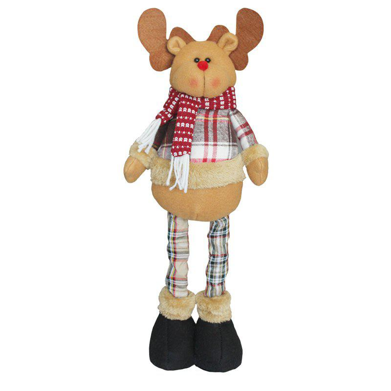 Elk Patterned Decorations Retractable Christmas DollHOME<br><br>Color: BROWN; Event &amp; Party Item Type: Other; Occasion: Christmas; Weight: 0.3648kg; Package Contents: 1 x Christmas Doll;