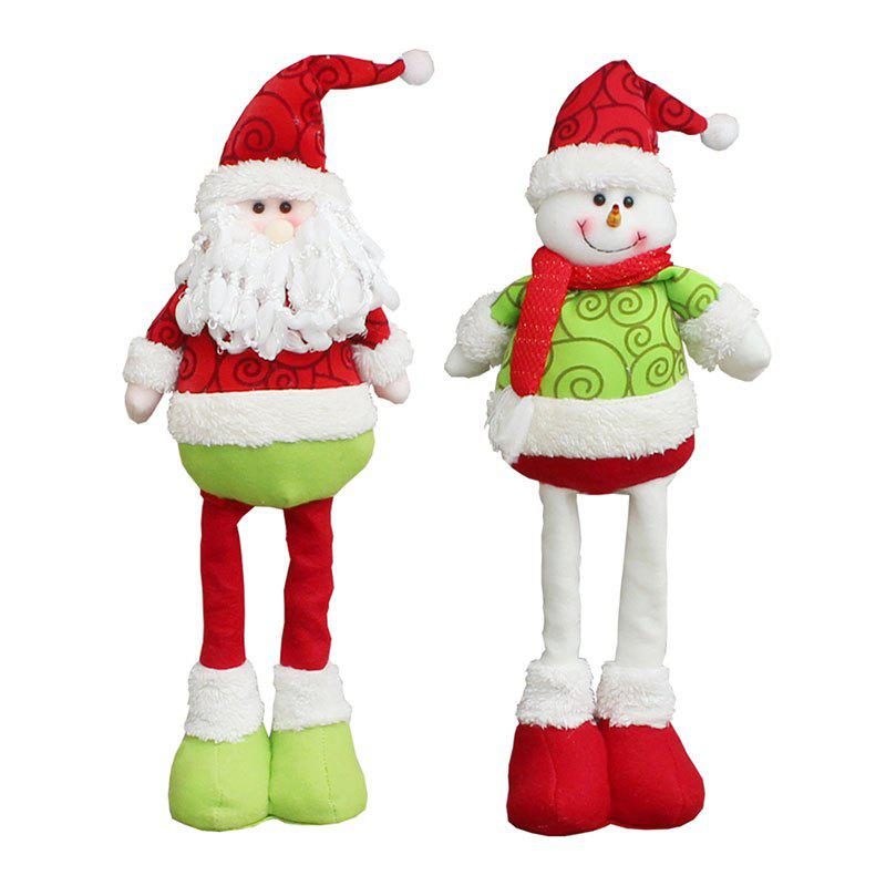 Santa Claus Snowman Pattern 2Pcs Retractable Christmas DollsHOME<br><br>Color: RED AND GREEN; Event &amp; Party Item Type: Other; Occasion: Christmas; Weight: 1.6000kg; Package Contents: 2 x Christmas Dolls (Pcs);