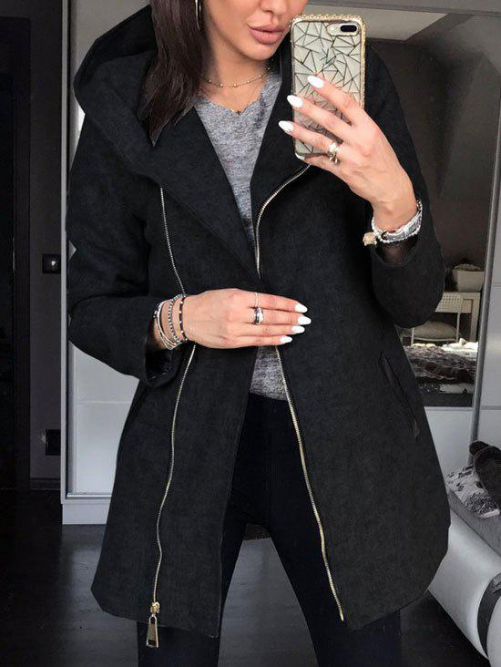 Hooded Long Skew Zip Up CoatWOMEN<br><br>Size: XL; Color: BLACK; Clothes Type: Others; Material: Polyester; Type: Slim; Shirt Length: Long; Sleeve Length: Full; Collar: Hooded; Pattern Type: Solid; Style: Fashion; Season: Fall,Winter; Weight: 0.4700kg; Package Contents: 1 x Coat;