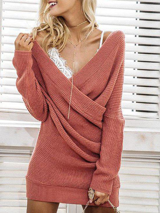 Mini Surplice Sweater DressWOMEN<br><br>Size: S; Color: RUSSET-RED; Style: Cute; Material: Polyester,Spandex; Silhouette: Sheath; Dresses Length: Mini; Neckline: V-Neck; Sleeve Length: Long Sleeves; Pattern Type: Solid; With Belt: No; Season: Fall,Spring,Winter; Weight: 0.3200kg; Package Contents: 1 x Dress; Occasion: Causal;