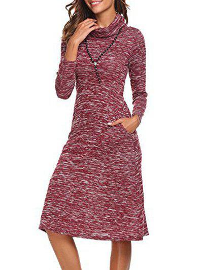 Shop Long Sleeve Cowl Neck Knee Length Dress