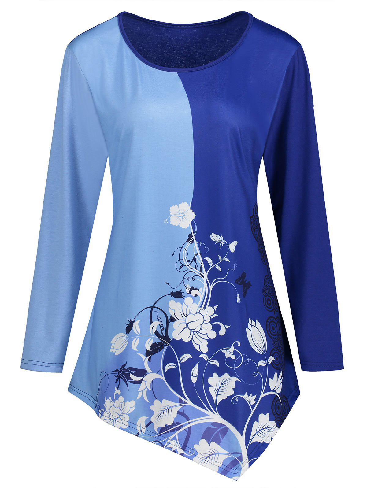 Floral Print Two Tone Asymmetrical Plus Size T-shirtWOMEN<br><br>Size: 4XL; Color: BLUE; Material: Polyester; Shirt Length: Long; Sleeve Length: Full; Collar: Round Neck; Style: Fashion; Season: Fall,Spring; Pattern Type: Floral; Weight: 0.2750kg; Package Contents: 1 x T-shirt;