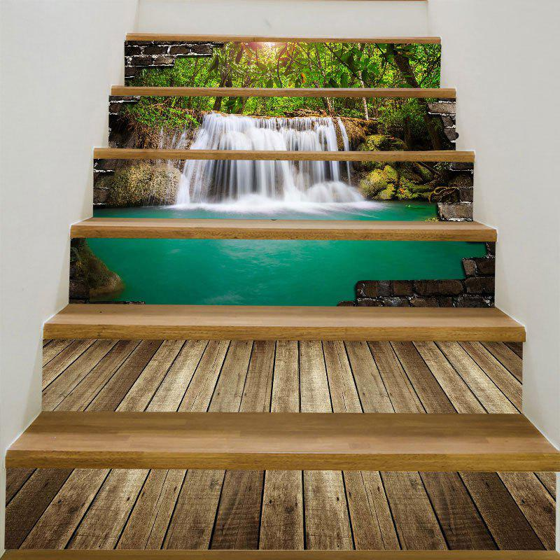 6Pcs Forest Waterfall Printed Stair StickersHOME<br><br>Size: 6PCS:39*7 INCH( NO FRAME ); Color: GREEN; Wall Sticker Type: 3D Wall Stickers; Functions: Stair Stickers; Theme: Landscape; Pattern Type: 3D,Forest,Water Drop; Material: PVC; Feature: Removable; Weight: 0.3100kg; Package Contents: 6 x Stair Stickers (Pcs);