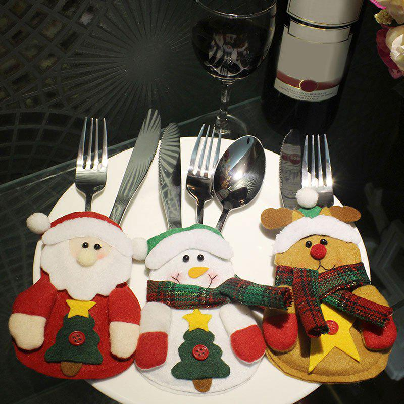 Cute Christmas Decoration 3PCS Knives and Forks Cover BagsHOME<br><br>Color: COLORFUL; Event &amp; Party Item Type: Party Decoration; Occasion: Christmas; Material: Polyester; Weight: 0.0400kg; Package Contents: 3 x Christmas Tableware Cover Bags;