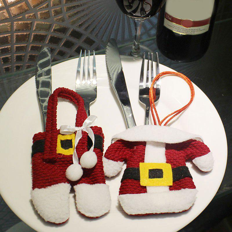 Christmas Santa Claus Clothes Pants 2PCS Tableware BagsHOME<br><br>Color: RED; Event &amp; Party Item Type: Party Decoration; Occasion: Christmas; Material: Polyester; Weight: 0.0960kg; Package Contents: 2 x  Tableware Cover Bags;