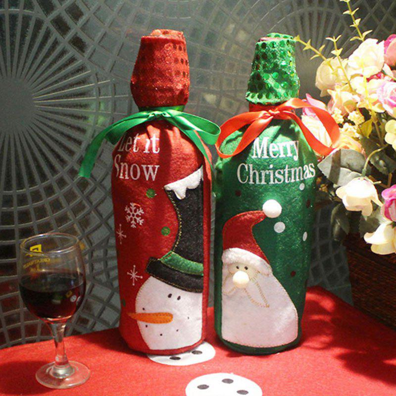 2PCS Embroidery Christmas Pattern Wine Bottle Bag CoversHOME<br><br>Color: COLORFUL; Event &amp; Party Item Type: Party Decoration; Occasion: Christmas; Material: Non-woven; Weight: 0.1200kg; Package Contents: 2 x Bottle Cover Bags;