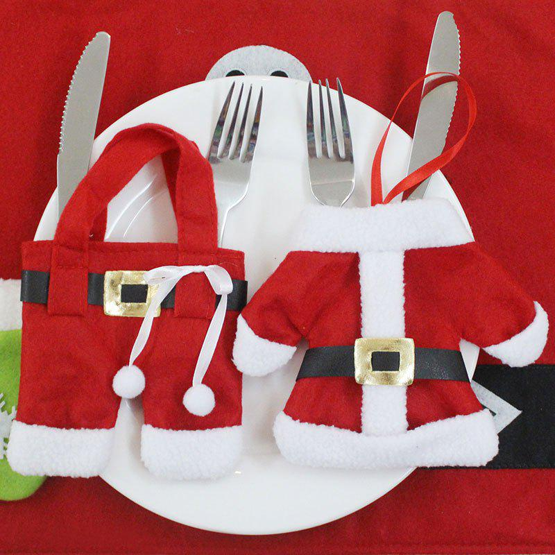 Christmas Clothes and Trousers Shape 2PCS Knife And Fork BagsHOME<br><br>Color: RED; Event &amp; Party Item Type: Party Decoration; Occasion: Christmas; Material: Non-woven; Weight: 0.0500kg; Package Contents: 2 x Tableware Bags;