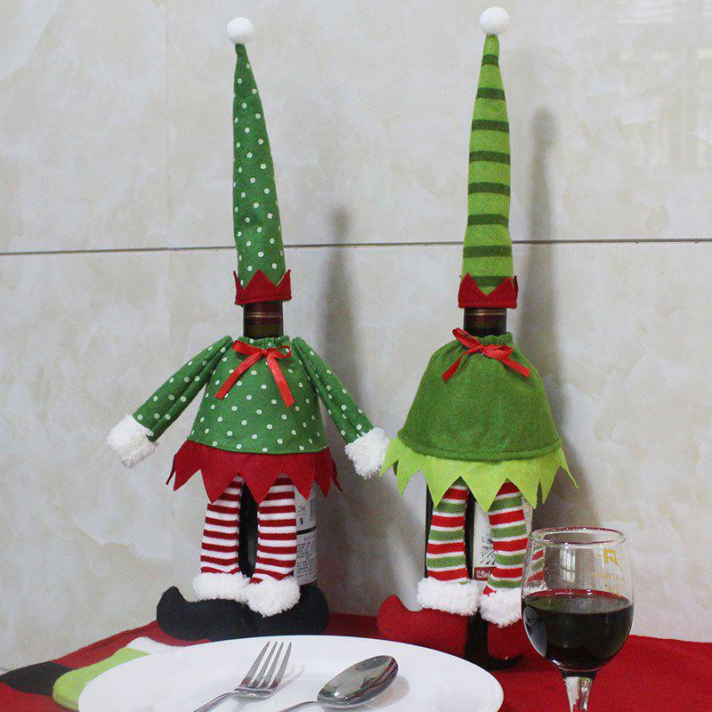 Christmas Polka Dot and Stripe 2Pcs Wine Bottle Cover BagsHOME<br><br>Color: GREEN; Event &amp; Party Item Type: Party Decoration; Occasion: Christmas; Material: Non-woven; Weight: 0.1100kg; Package Contents: 2 x Bottle Cover Bags;