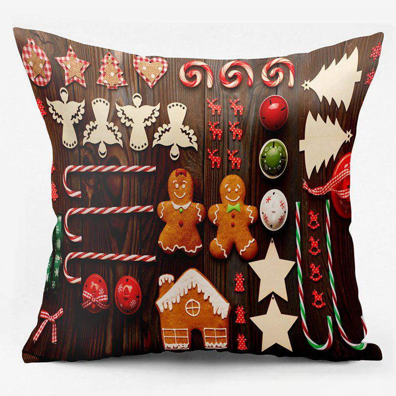 Christmas Elements Double Sided Printed Decorative PillowcaseHOME<br><br>Size: W18 INCH * L18 INCH; Color: BROWN; Material: Polyester / Cotton; Pattern: Printed,Wood Grain; Style: Festival; Shape: Square; Weight: 0.1000kg; Package Contents: 1 x Pillowcase;