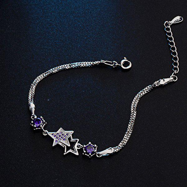Faux Crystal Rhinestone Star Chain BraceletJEWELRY<br><br>Color: PURPLE; Item Type: Chain &amp; Link Bracelet; Gender: For Women; Chain Type: Link Chain; Style: Trendy; Shape/Pattern: Star; Length: 18CM; Weight: 0.0300kg; Package Contents: 1 x Bracelet;