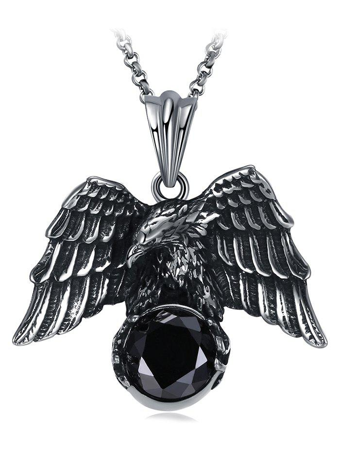 Unique Carved Eagle Embellished Faux Gem Stainless Steel Necklace