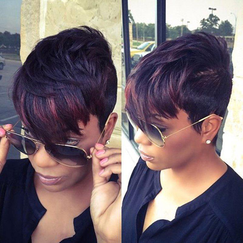 Trendy Short Inclined Bang Colormix Straight Synthetic Wig