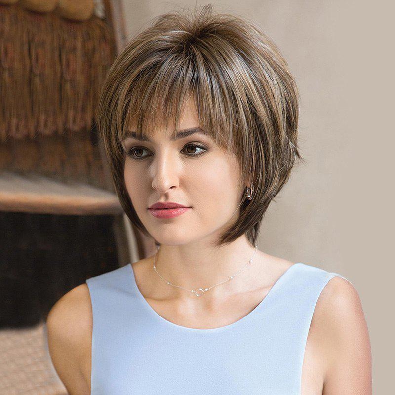 Cheap Short Side Bang Colormix Fluffy Straight Synthetic Wig