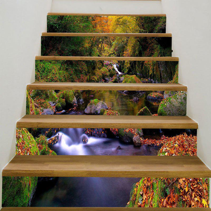 Forest Stream Print 6Pcs Stair StickersHOME<br><br>Size: 6PCS:39*7 INCH( NO FRAME ); Color: COLORFUL; Wall Sticker Type: 3D Wall Stickers; Functions: Stair Stickers; Theme: Landscape; Pattern Type: Forest,Mountain; Material: PVC; Feature: Removable; Weight: 0.3100kg; Package Contents: 6 x Stair Stickers (Pcs);