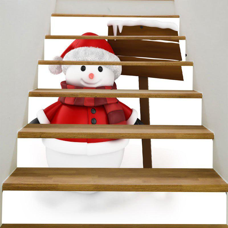 Lovely Christmas Snowman Pattern Decorative DIY Stair StickersHOME<br><br>Size: 6PCS:39*7 INCH( NO FRAME ); Color: COLORFUL; Wall Sticker Type: Plane Wall Stickers; Functions: Stair Stickers; Theme: Christmas; Pattern Type: Snowman; Material: PVC; Feature: Removable; Weight: 0.3100kg; Package Contents: 1 x Stair Stickers (Set);