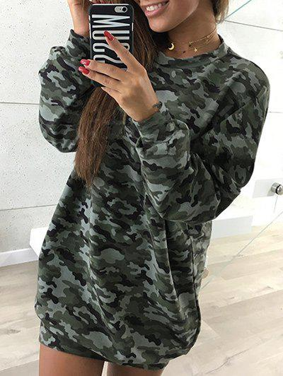 Long Sleeve Camouflage Sweatshirt DressWOMEN<br><br>Size: S; Color: CAMOUFLAGE; Style: Casual; Material: Cotton,Polyester; Silhouette: Shift; Dresses Length: Mini; Neckline: Round Collar; Sleeve Length: Long Sleeves; Pattern Type: Camo; With Belt: No; Season: Fall,Winter; Weight: 0.3700kg; Package Contents: 1 x Dress; Occasion: Casual,Going Out,Outdoor;