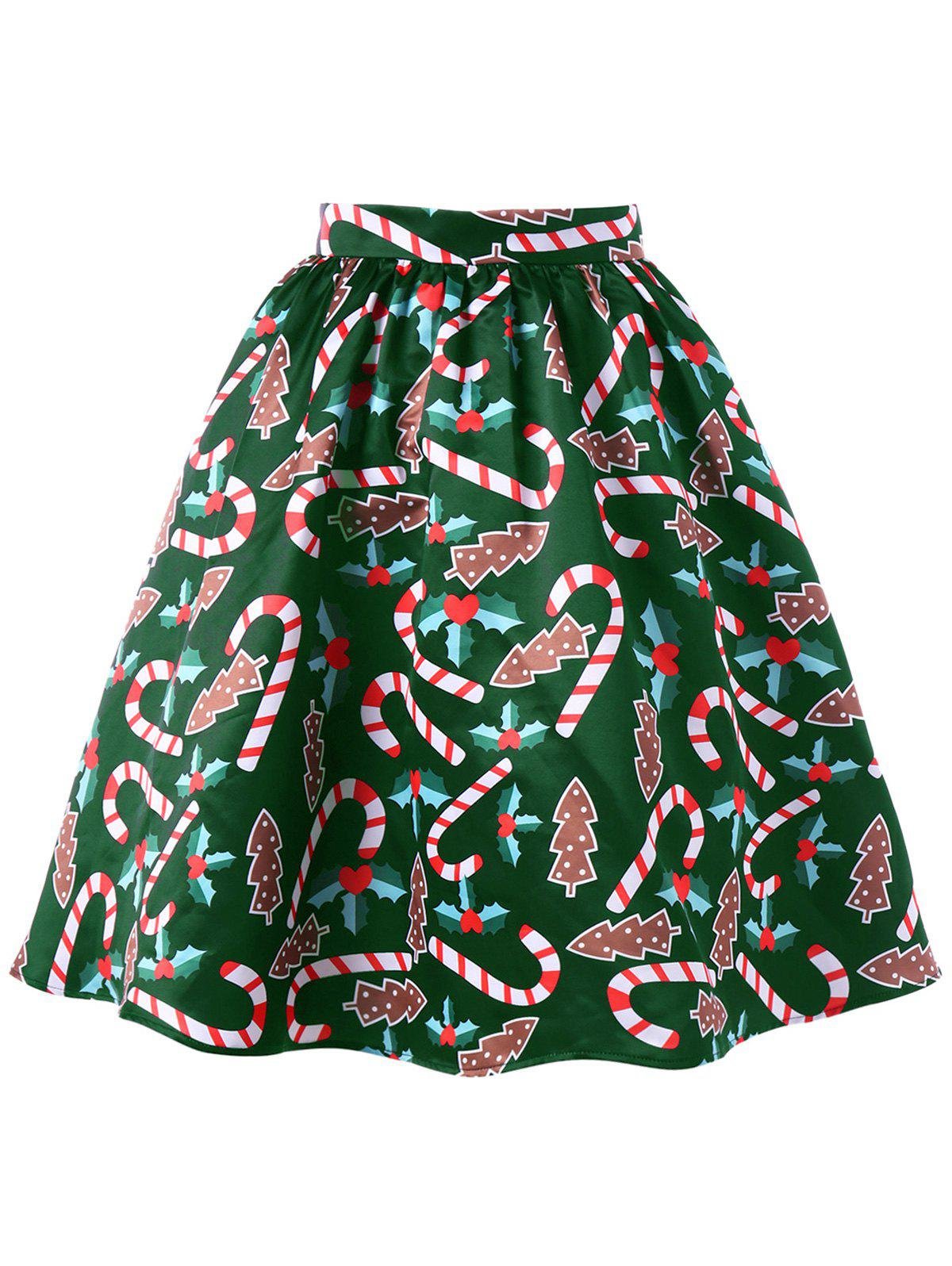 Christmas Graphic Flare SkirtWOMEN<br><br>Size: 2XL; Color: GREEN; Material: Polyester; Length: Knee-Length; Silhouette: A-Line; Pattern Type: Others; Season: Fall,Spring; Weight: 0.3300kg; Package Contents: 1 x Skirt;