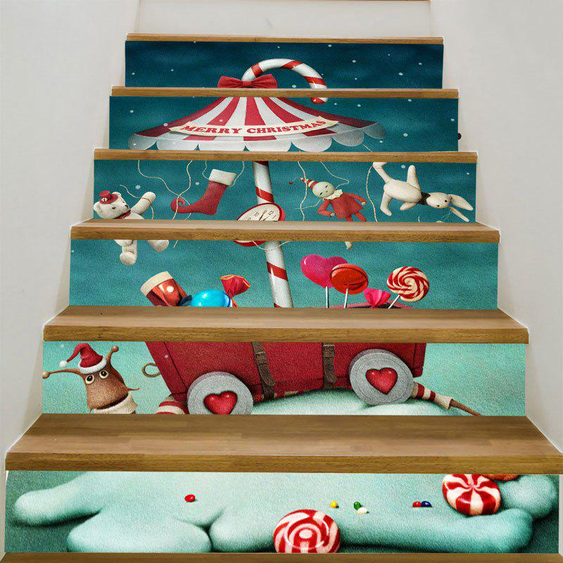 Christmas Candy Snail Pattern Decorative Stair StickersHOME<br><br>Size: 6PCS:39*7 INCH( NO FRAME ); Color: COLORFUL; Wall Sticker Type: Plane Wall Stickers; Functions: Stair Stickers; Theme: Christmas; Pattern Type: Cartoon; Material: PVC; Feature: Removable; Weight: 0.3100kg; Package Contents: 1 x Stair Stickers (Set);
