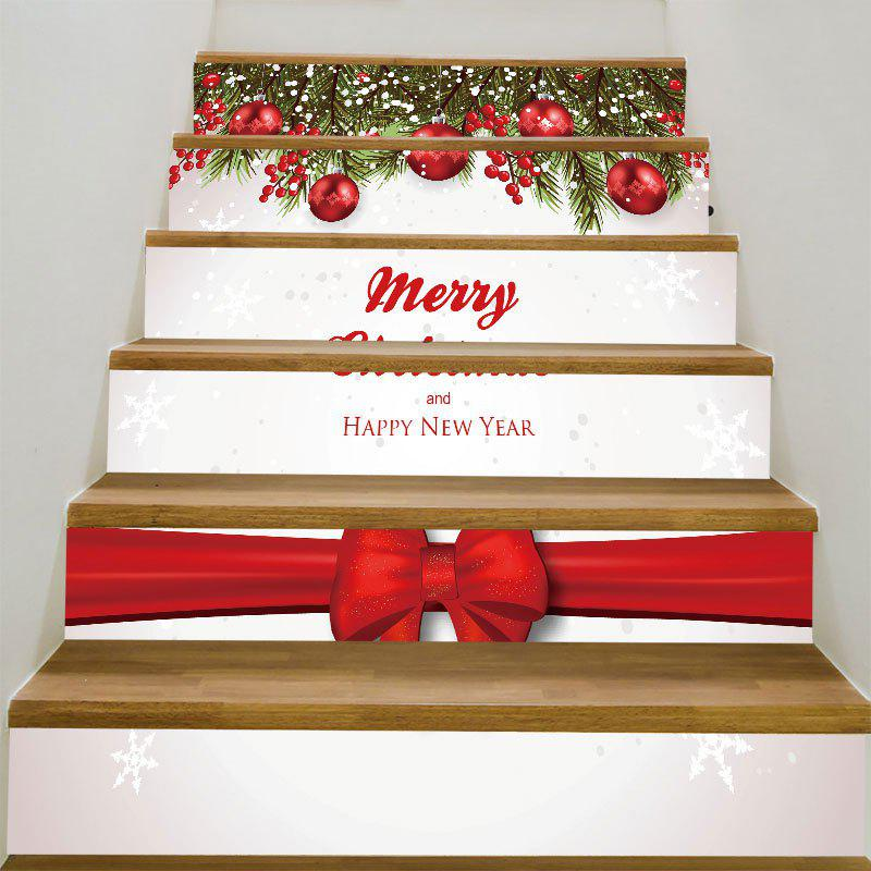 Decorative Merry Christmas Bowknot Printed Stair StickersHOME<br><br>Size: 6PCS:39*7 INCH( NO FRAME ); Color: COLORFUL; Wall Sticker Type: Plane Wall Stickers; Functions: Stair Stickers; Theme: Christmas; Pattern Type: Ball,Bowknot; Material: PVC; Feature: Removable; Weight: 0.3100kg; Package Contents: 1 x Stair Stickers (Set);