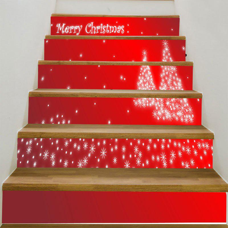 Christmas Snowflake Tree Printed DIY Stair StickersHOME<br><br>Size: 6PCS:39*7 INCH( NO FRAME ); Color: RED; Wall Sticker Type: Plane Wall Stickers; Functions: Stair Stickers; Theme: Christmas; Pattern Type: Christmas Tree; Material: PVC; Feature: Removable; Weight: 0.3100kg; Package Contents: 1 x Stair Stickers (Set);