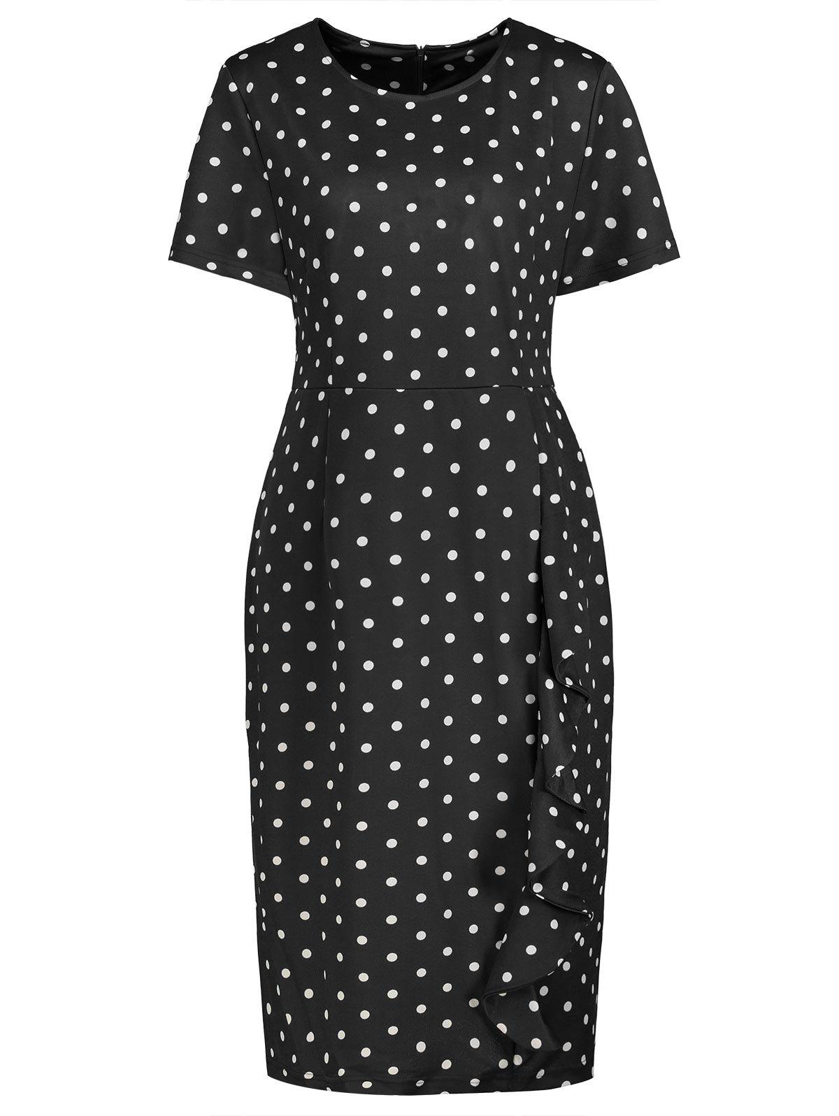 Tight Polka Dot Ruffle Plus Size Pencil DressWOMEN<br><br>Size: 5XL; Color: BLACK; Style: Casual; Material: Polyester; Silhouette: Bodycon; Dresses Length: Knee-Length; Neckline: Round Collar; Sleeve Length: Short Sleeves; Embellishment: Ruffles; Pattern Type: Polka Dot; With Belt: No; Season: Fall,Spring,Summer; Weight: 0.3800kg; Package Contents: 1 x Dress;