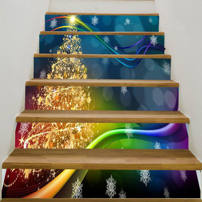 Golden Star Christmas Tree Printed Decorative Stair StickersHOME<br><br>Size: 6PCS:39*7 INCH( NO FRAME ); Color: COLORFUL; Wall Sticker Type: Plane Wall Stickers; Functions: Stair Stickers; Theme: Christmas; Pattern Type: Christmas Tree; Material: PVC; Feature: Removable; Weight: 0.3100kg; Package Contents: 1 x Stair Stickers (Set);