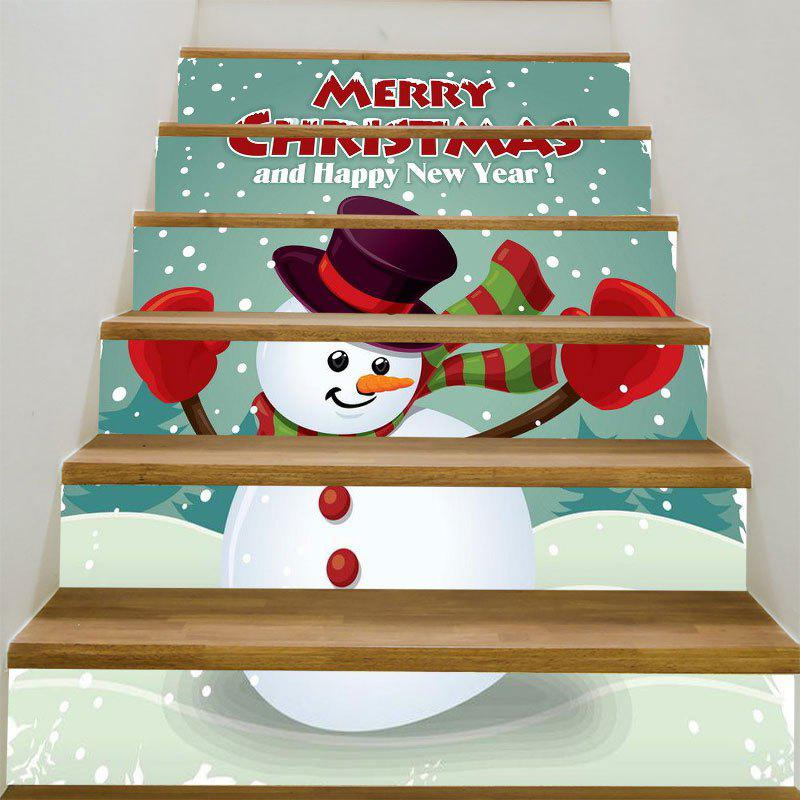 Decorative Happy Snowman Pattern DIY Stair StickersHOME<br><br>Size: 6PCS:39*7 INCH( NO FRAME ); Color: COLORFUL; Wall Sticker Type: Plane Wall Stickers; Functions: Stair Stickers; Theme: Christmas; Pattern Type: Snowman; Material: PVC; Feature: Removable; Weight: 0.3100kg; Package Contents: 1 x Stair Stickers (Set);